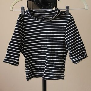 Topshop High Neck Cropped B&W Striped Top 2